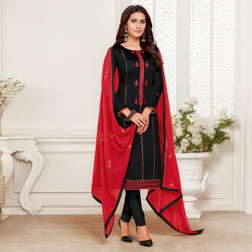 Attractive Black Colored Embroidered Partywear Jam Silk Cotton Dress Material