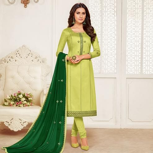 Beautiful Light Green Colored Embroidered Partywear Jam Silk Cotton Dress Material
