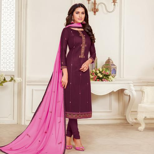 Graceful Mauve Colored Embroidered Partywear Jam Silk Cotton Dress Material
