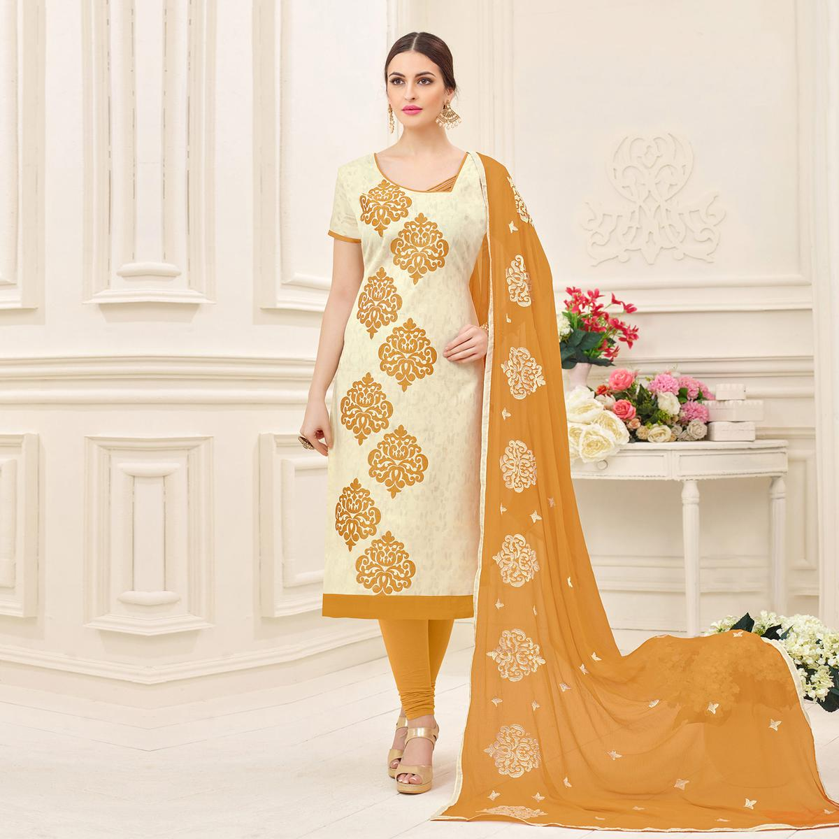 Stylish Cream Designer Embroidered Jacquard Dress Material