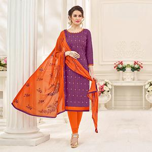 Stunning Purple Designer Embroidered Jacquard Dress Material