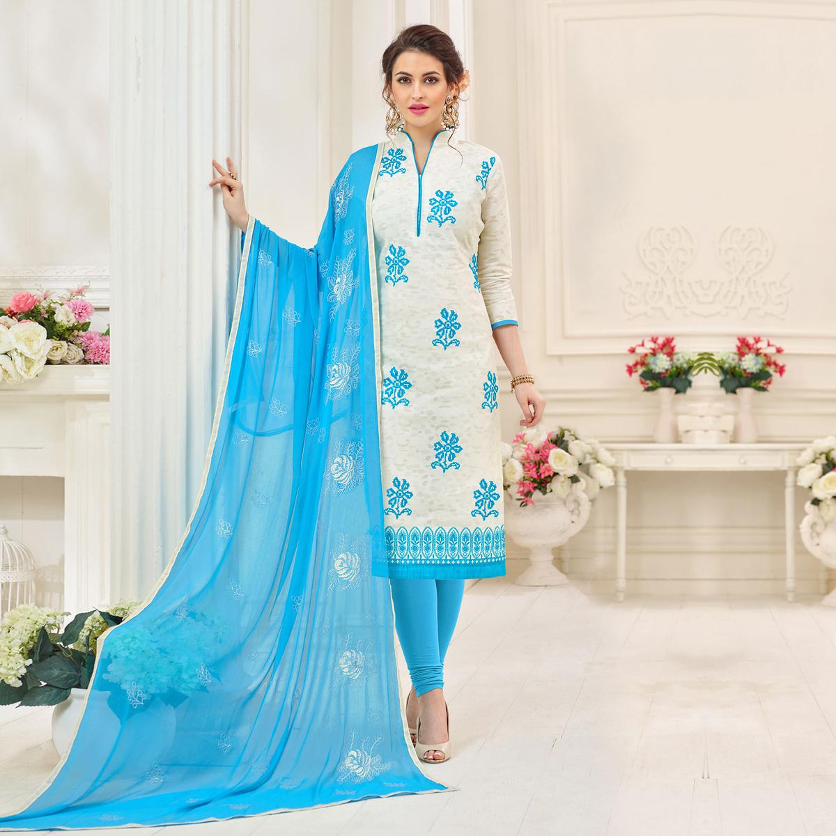 Soulful White Designer Embroidered Jacquard Dress Material