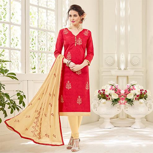 Hot Red Designer Embroidered Jacquard Dress Material