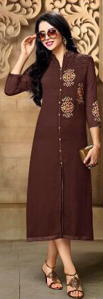 Brown Georgette Embroidered Work Kurti