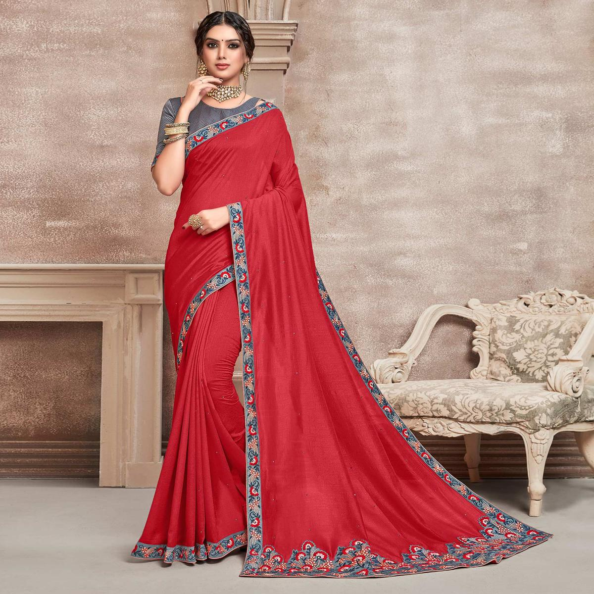 Indian Women Red Poly Silk Embroidered Designer Saree