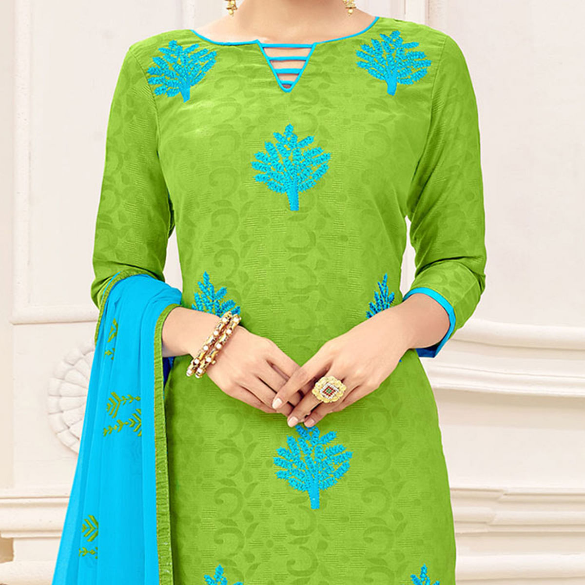 Gorgeous Green Designer Embroidered Jacquard Dress Material