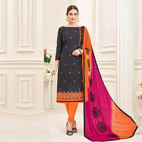 Dazzling Black Designer Embroidered Jacquard Dress Material
