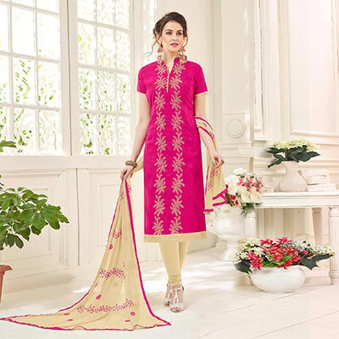 Graceful Pink Designer Embroidered Jacquard Dress Material