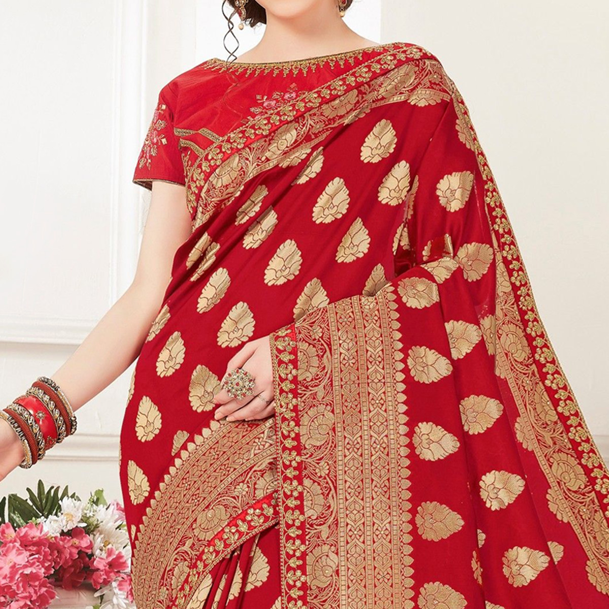 Indian Women Red Banarasi Silk jacquard Work Heavy Work Designer Saree