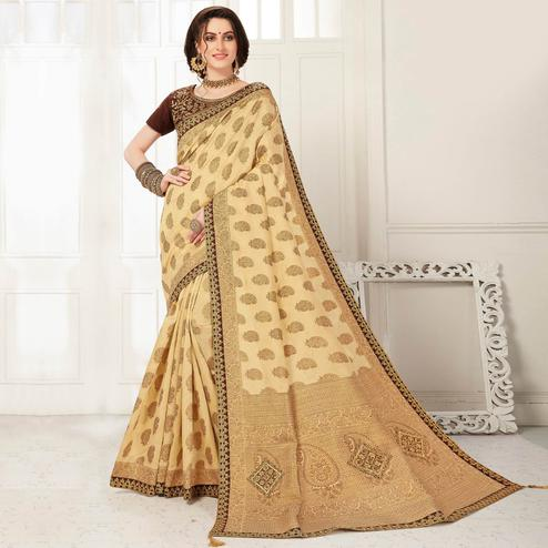 Indian Women Beige Banarasi Silk jacquard Work Heavy Work Designer Saree