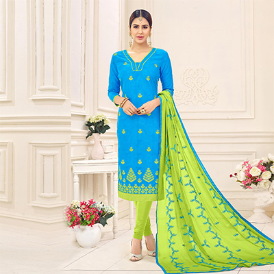 Sizzling Blue Designer Embroidered Jacquard Dress Material