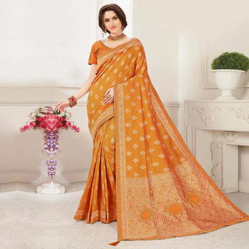 Indian Women Mustard Banarasi Silk jacquard Work Heavy Work Designer Saree