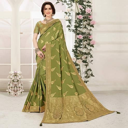 Indian Women Green Banarasi Silk jacquard Work Heavy Work Designer Saree