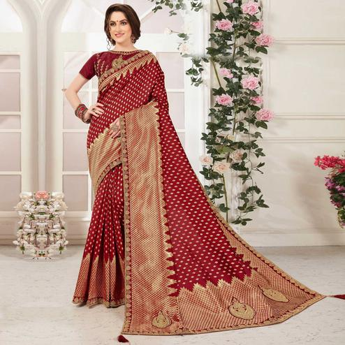 Indian Women Maroon Banarasi Silk jacquard Work Heavy Work Designer Saree