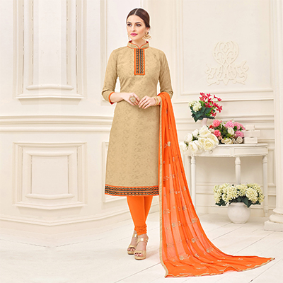 Beautiful Beige Designer Embroidered Jacquard Dress Material