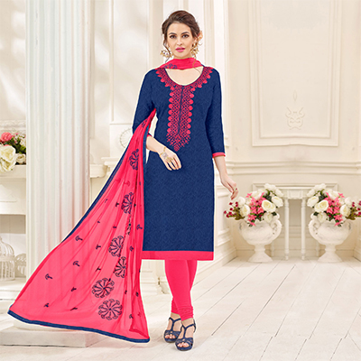 Attractive Navy Designer Embroidered Jacquard Dress Material