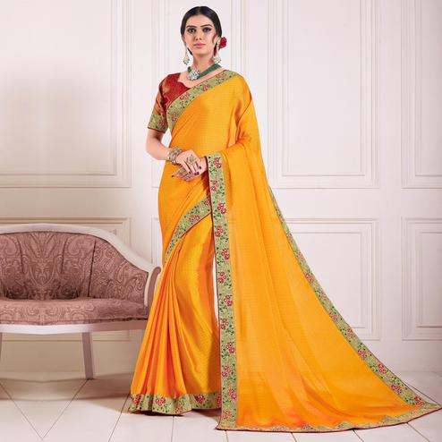 Indian Women Yellow Chiffon Embroidered lace Fancy Designer Saree