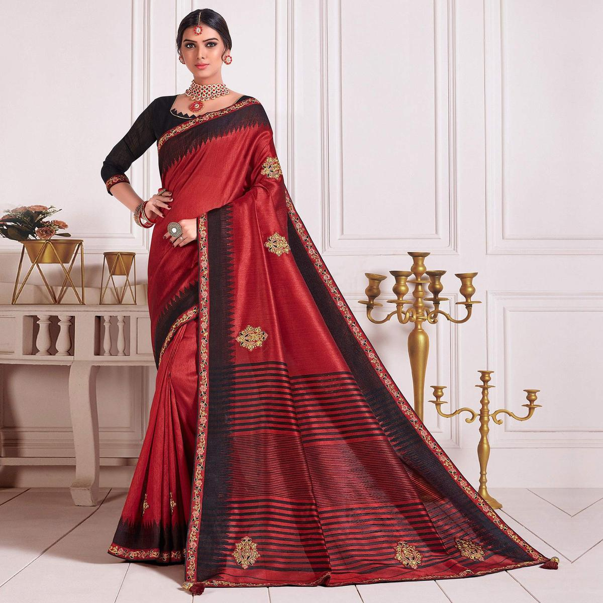 Indian Women Red Poly Silk Embroidered Fancy Designer Saree
