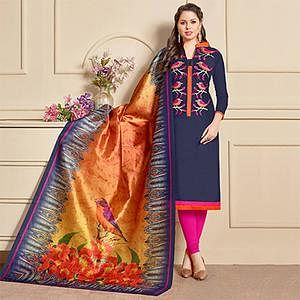 Stunning Navy Designer Embroidered Modal Art Silk Dress Material With Digital Printed Dupatta