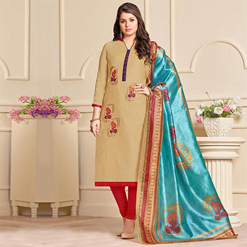 Beautiful Beige Designer Embroidered Modal Art Silk Dress Material With Digital Printed Dupatta