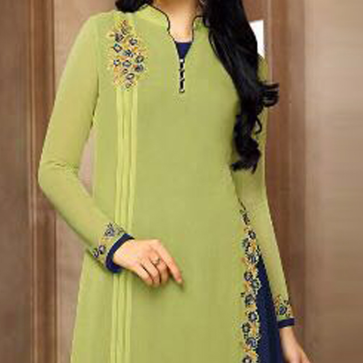 Green - Blue Embroidered Work Party Wear Kurti