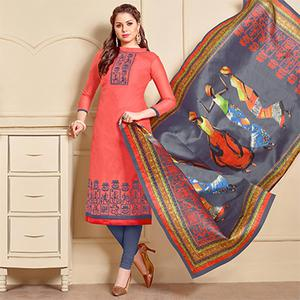 Attractive Peach Designer Embroidered Modal Art Silk Dress Material With Digital Printed Dupatta