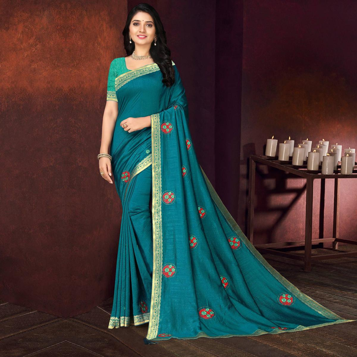 Indian Women Teal Blue Vichitra silk Lace with stone Work Designer Saree