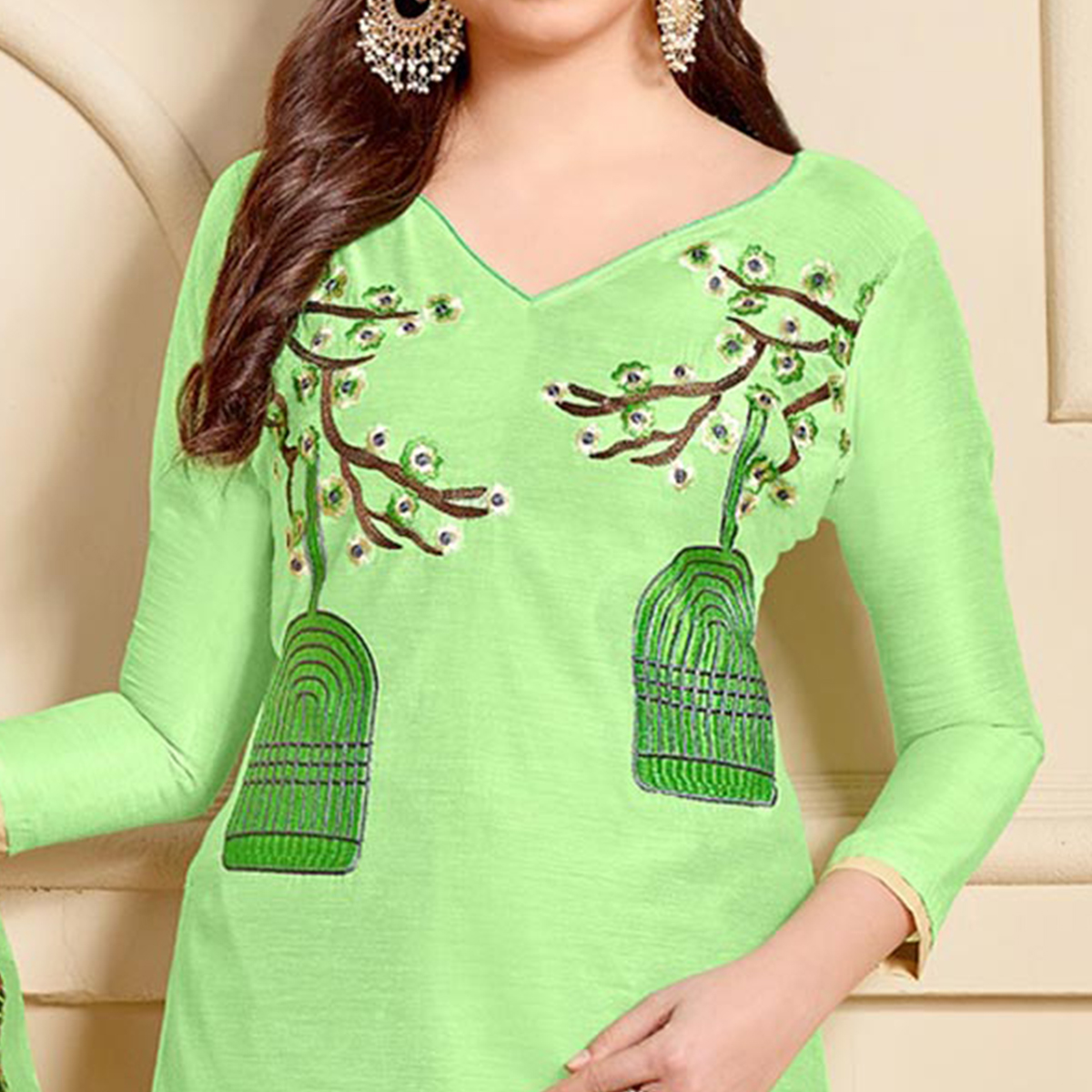 Classy Green Designer Embroidered Modal Art Silk Dress Material With Digital Printed Dupatta