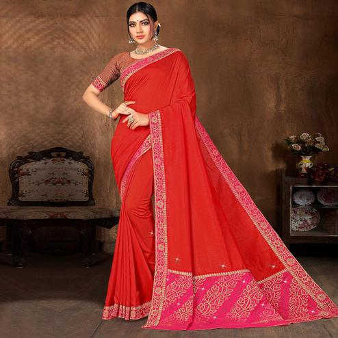 Indian Women Red Vichitra silk Lace with stone Work Designer Saree