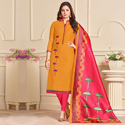 Soulful Orange Designer Embroidered Modal Art Silk Dress Material With Digital Printed Dupatta