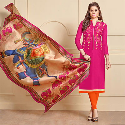 Graceful Pink Designer Embroidered Modal Art Silk Dress Material With Digital Printed Dupatta