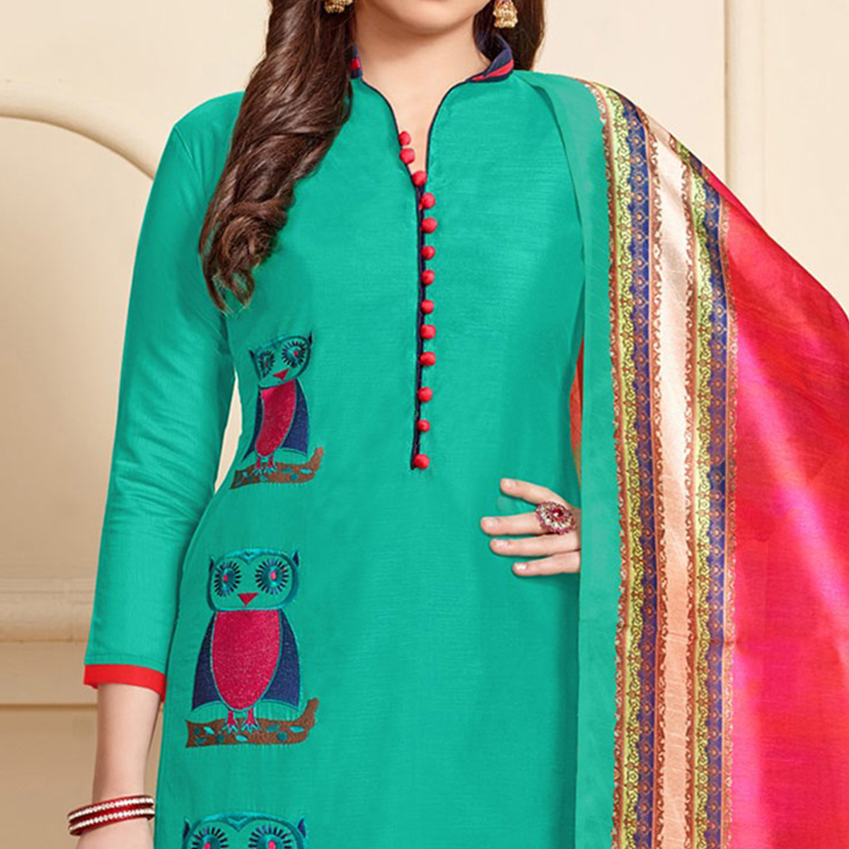Sizzling Green Designer Embroidered Modal Art Silk Dress Material With Digital Printed Dupatta