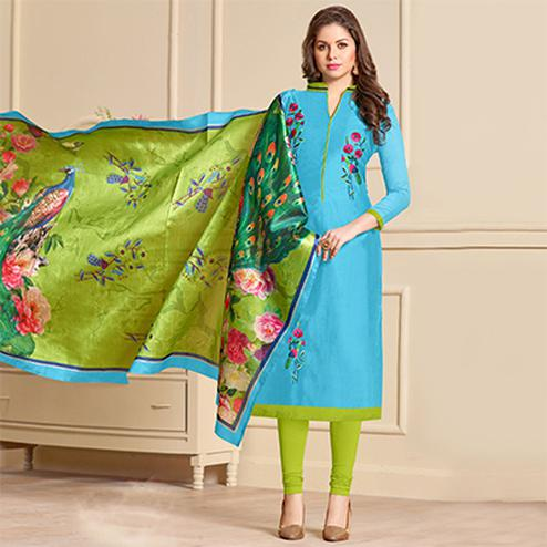 Delightful Blue Designer Embroidered Modal Art Silk Dress Material With Digital Printed Dupatta