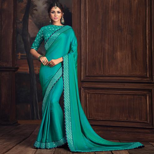 Indian Women Turquoise Green Poly Silk Heavy Embroidered Work Designer Saree