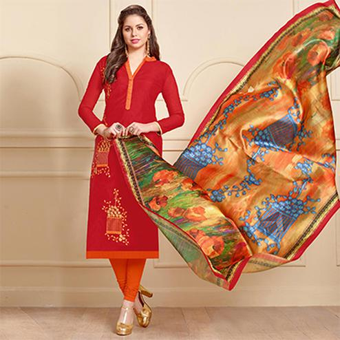 Hot Red Designer Embroidered Modal Art Silk Dress Material With Digital Printed Dupatta