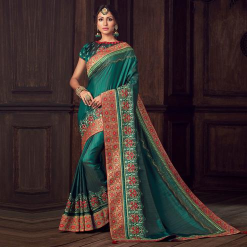Indian Women Green Poly Silk Heavy Embroidered Work Designer Saree