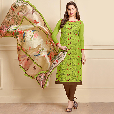 Gorgeous Green Designer Embroidered Modal Art Silk Dress Material With Digital Printed Dupatta