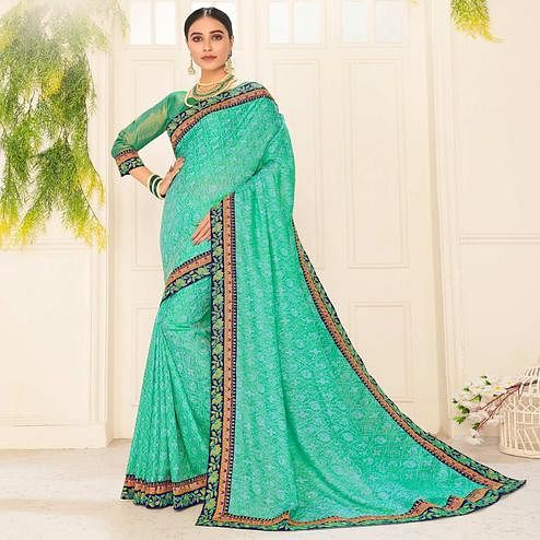 Indian Women Turquoise Green Poly Silk Embroidered Work Designer Saree