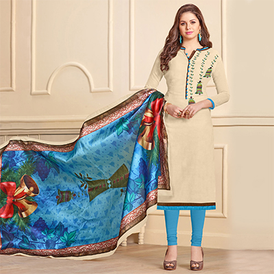Stylish Cream Designer Embroidered Modal Art Silk Dress Material With Digital Printed Dupatta