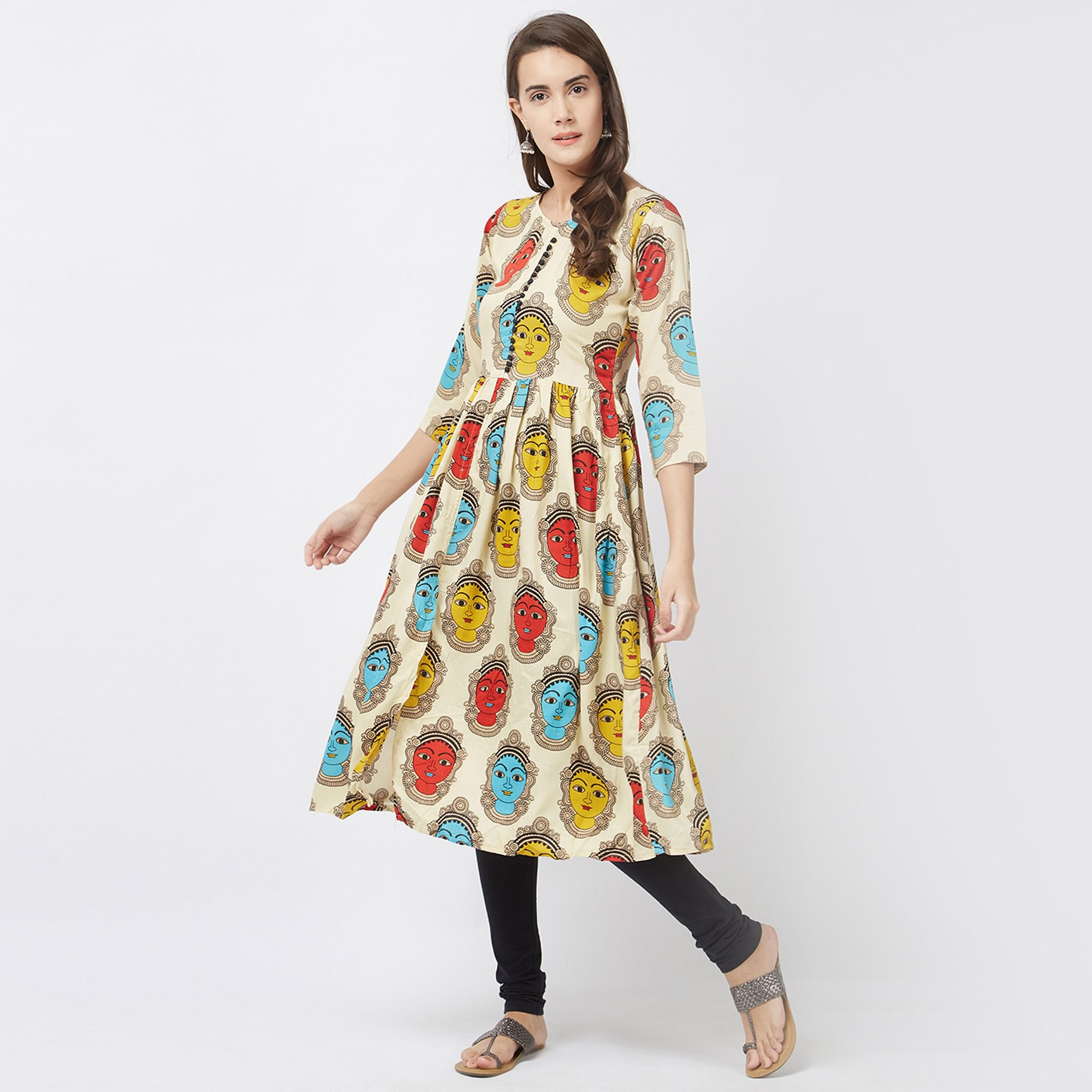 Beautiful Beige Printed Designer Pure Rayon Kurti