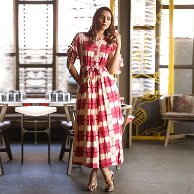 Stunning Red-Beige Colored Designer Pure Rayon Kurti