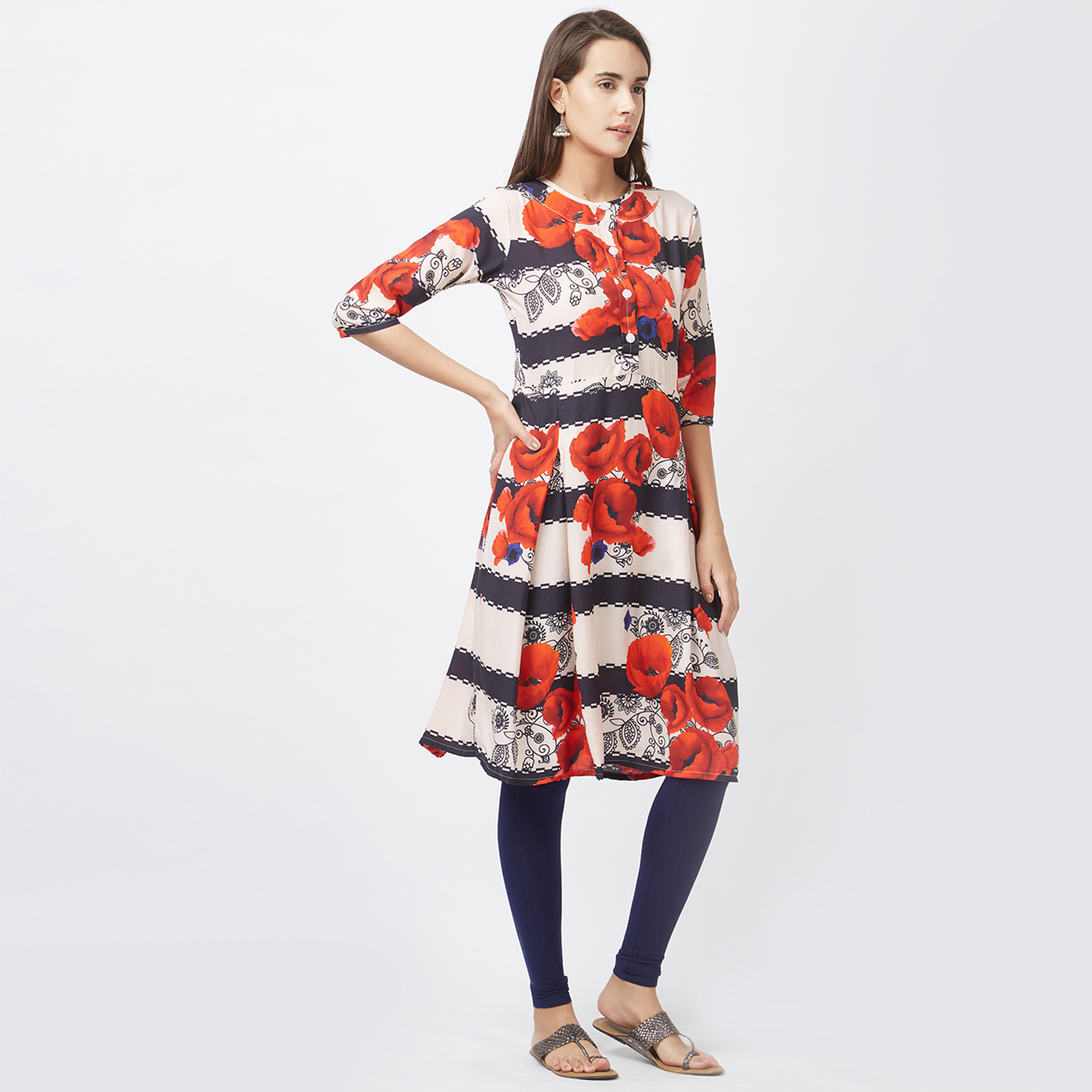 Trendy Black-White Colored Fancy Designer Printed Pure Rayon Kurti