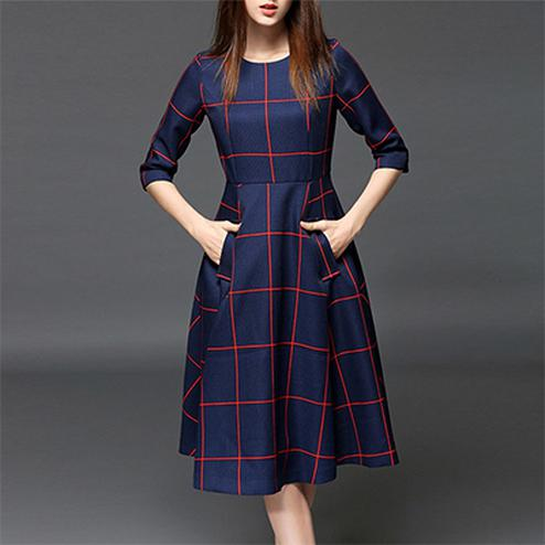 Smart Navy Blue Checked Digital Print Linen Khadi Cotton Fabric Dress