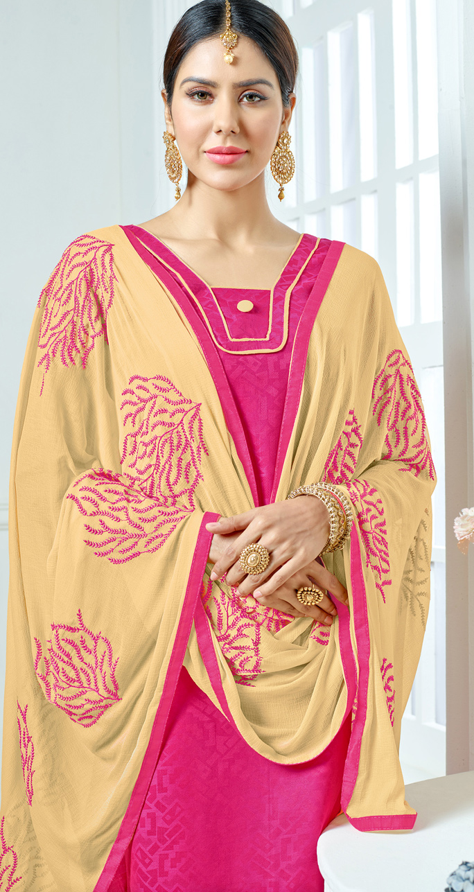 Pink-Beige Colored Embroidered Jacquard Dress Material