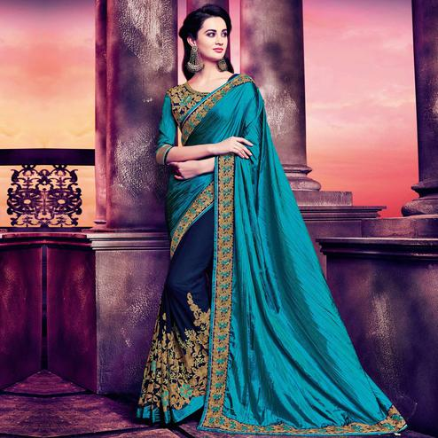 Indian Women Blue Poly Silk Embroidered Work Designer Saree