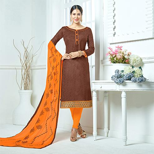 Brown-Orange Colored Embroidered Jacquard Dress Material