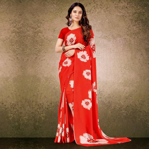 Glorious Red Floral Digital Print Casual Wear French Crepe Saree