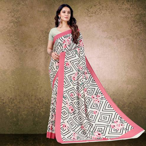 Beautiful Off White-Pink Floral Digital Print Casual Wear French Crepe Saree