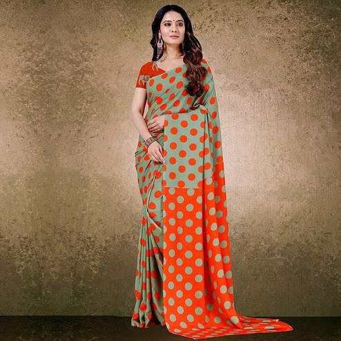 Graceful Green-Orange Digital Polka Dot Print Casual Wear French Crepe Saree