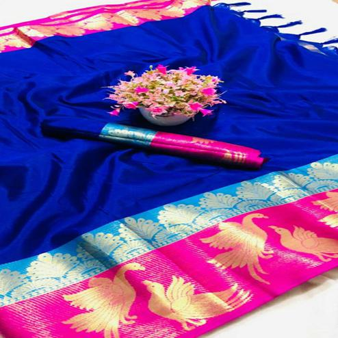 Imposing Blue - Pink Colored Festive Wear Woven Pure Cotton Silk Saree